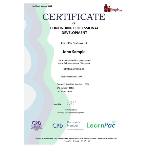 Strategic Planning – E-Learning Course – Mandatory Compliance UK –