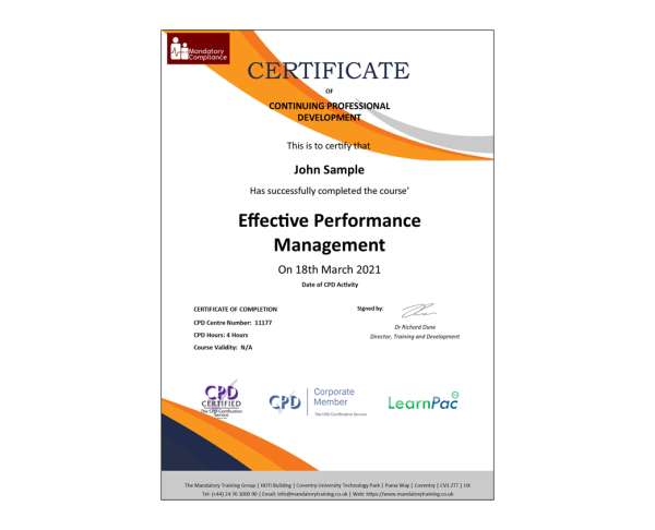 Effective Performance Management – eLearning Course – CPD Certified – Mandatory Compliance UK –