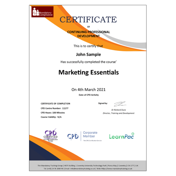 Marketing Essentials – E-Learning Courses – CPDUK Certified – Mandatory Compliance UK –