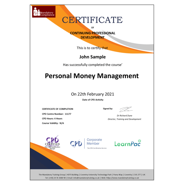 Personal Money Management – eLearning Course – CPD Certified – Mandatory Compliance UK –