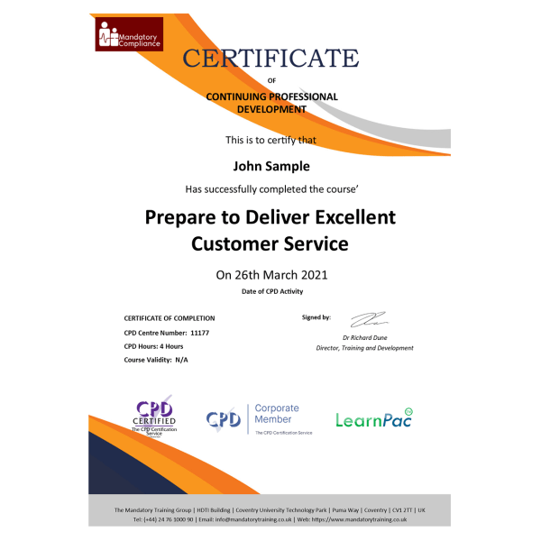 Prepare to Deliver Excellent Customer Service – eLearning Course – CPD Certified – Mandatory-Compliance UK –
