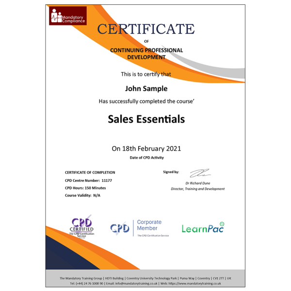 Sales Essentials – E-Learning Courses – CPDUK Certified – Mandatory Compliance UK –