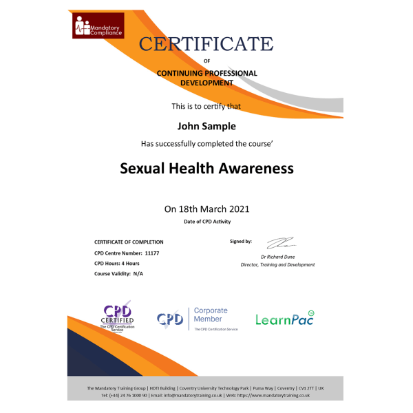 Sexual Health Awareness – eLearning Course – CPD Certified – Mandatory-Compliance UK –
