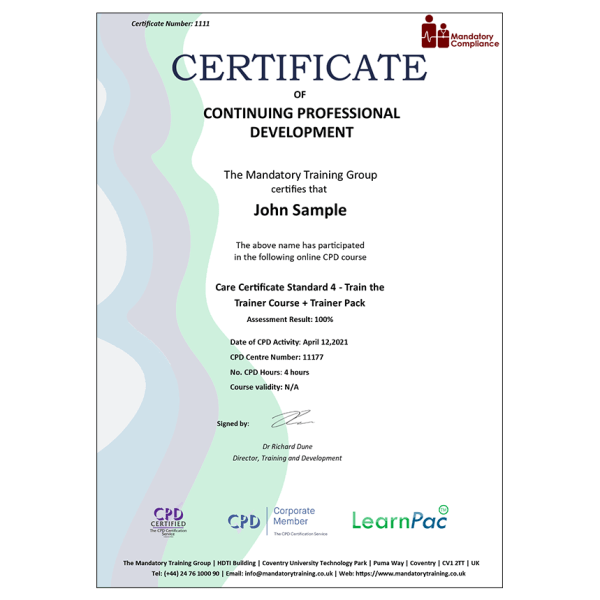 Care Certificate Standard 4 – Train the Trainer Course + Trainer Pack – CPD Accredited – Mandatory Compliance UK –