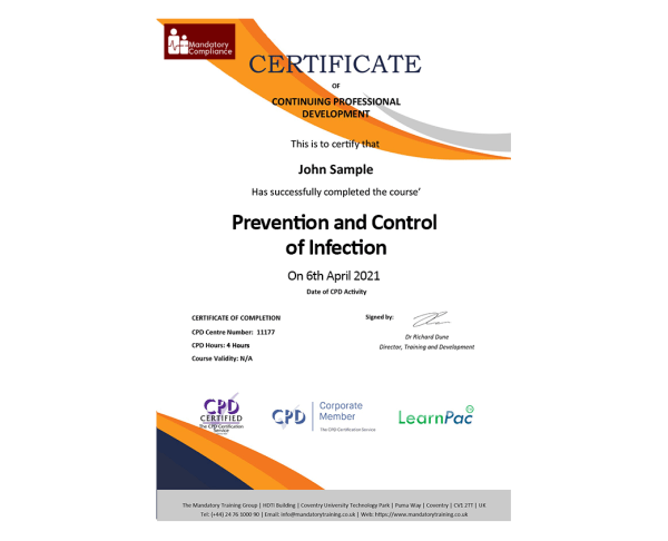 Prevention and Control of Infection – eLearning Course – CPD Certified – Mandatory Compliance UK –