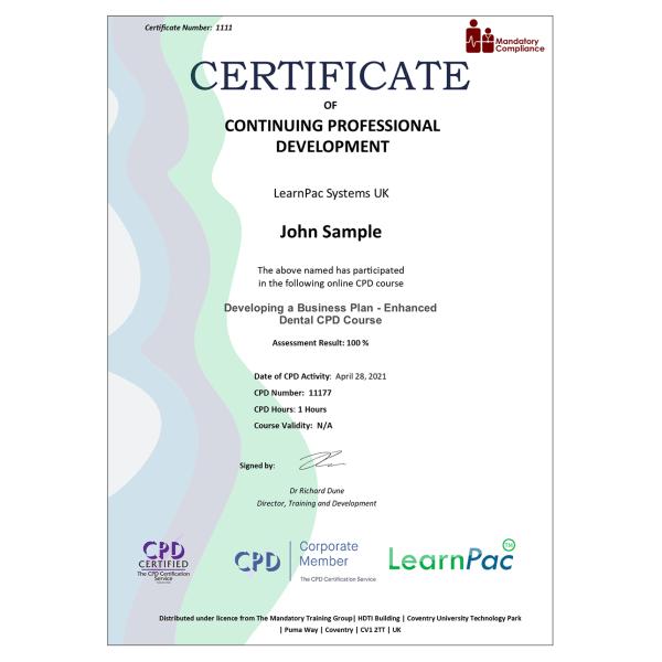 Developing a Business Plan – Enhanced Dental CPD Course – Mandatory Compliance UK —-