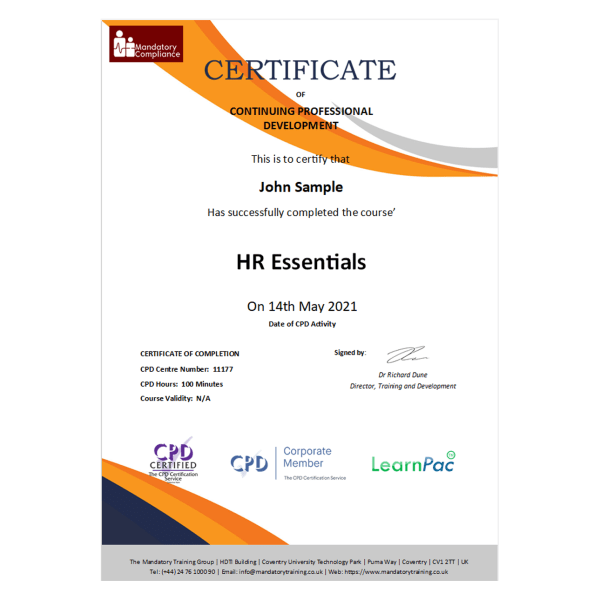 HR Essentials – eLearning Package – CPD Certified – Mandatory Compliance UK –