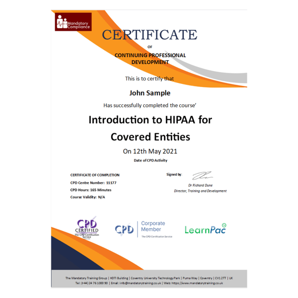 Introduction to HIPAA for Covered Entities – eLearning Course – CPD Certified – Mandatory Compliance UK 1-
