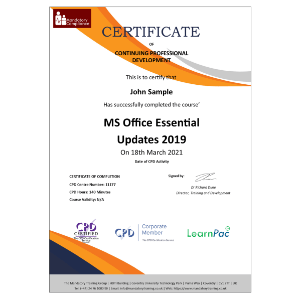 MS Office Essential Updates 2019 – E-Learning Package – CPD Certified – Mandatory Compliance UK –
