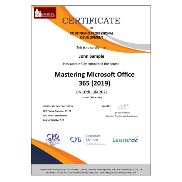 Mastering Microsoft Office 365 (2019) – E-Learning Course – CPDUK Certified – The Mandatory Compliance UK –