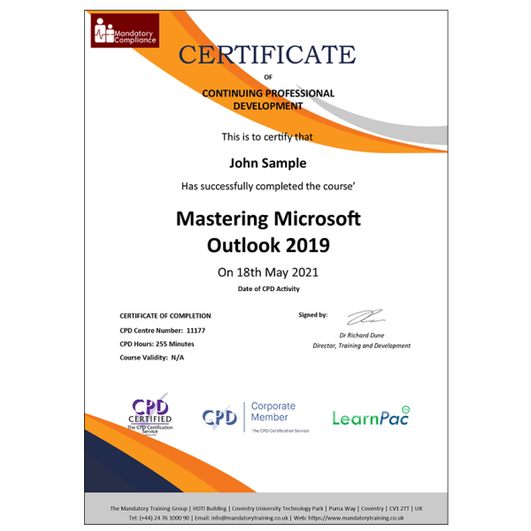 Mastering Microsoft Outlook 2019 – Online Course – CPDUK Accredited – Mandatory Compliance UK –