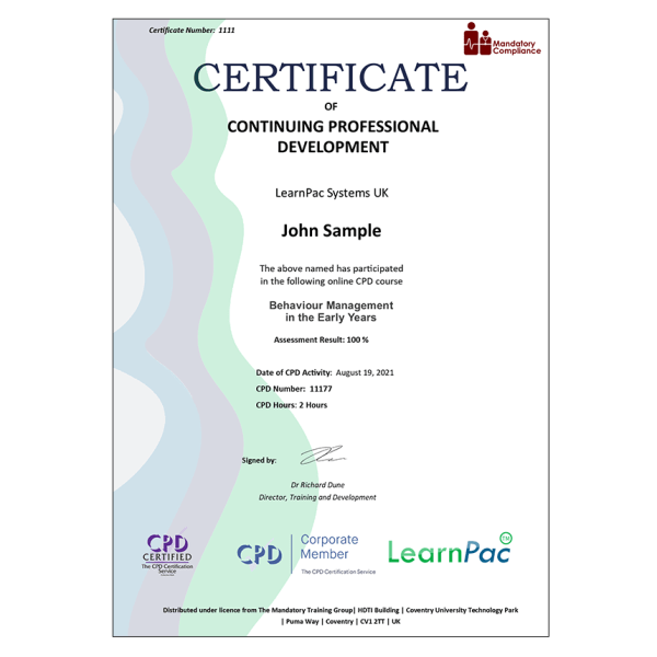 Behaviour Management in the Early Years – E-Learning – Course – CDPUK Accredited – The Mandatory Compliance UK –