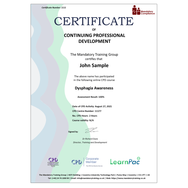 Dysphagia Awareness – Level 2 – eLearning Course – CPD Certified – Mandatory Compliance UK –