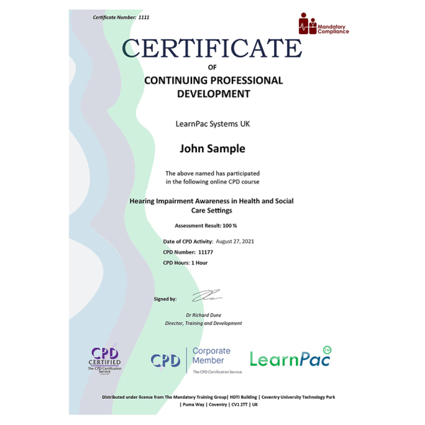 Hearing Impairment Awareness in Health and Social Care Settings – Level 1 – eLearning Course – CPD Certified – Mandatory Compliance UK –