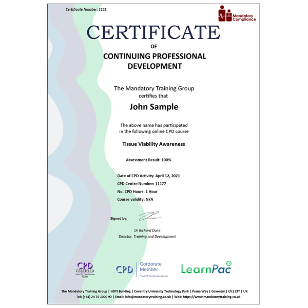 Tissue Viability Awareness – E-Learning Course – Mandatory Compliance UK –