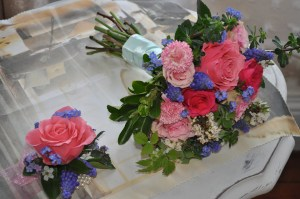 Pink Rose Corsage with Bridesmaid's Hand-tied Bouquet