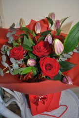 Lilies and Roses hand-tied flowers