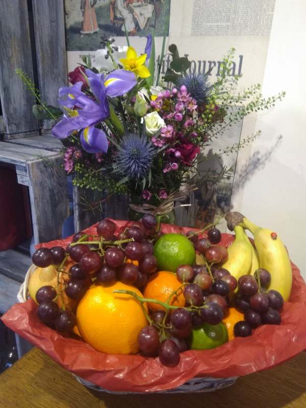 Fruit basket and jam jar flowers