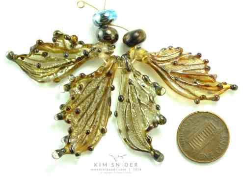 Gold Lustre Glass Butterfly Wing Beads by Kim Snider