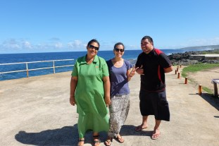 Tourist stop at the blowholes with workmates Halamehi and Tu'usolo