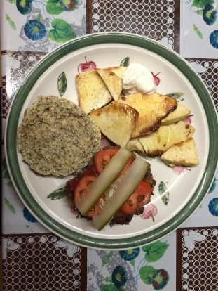 Burger (with homemade multigrain buns and pickles) and breadfruit chips