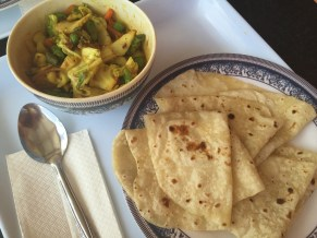 Veggie curry and roti at Patrick's Corner