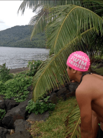Finau looks out on the course at the Samoa Swim Series (Pic thanks to Pou Panuve)