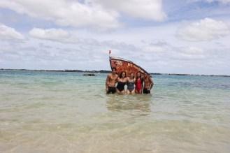 With Andrew, Calina, Noelani and Finau at the end of the 1.8km swim to Pangaimotu (Pic thanks to Pou Panuve)