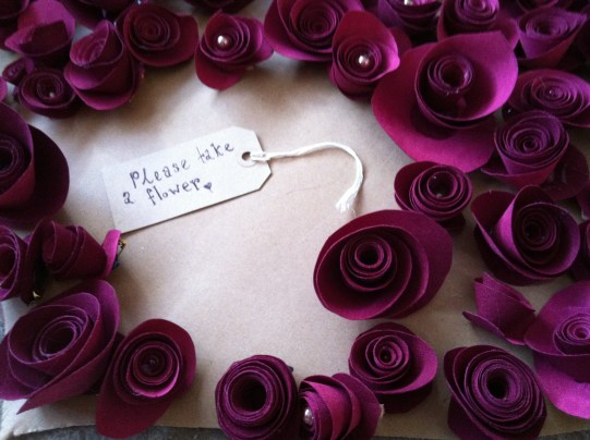 Love heart made from over a hundred fabric rose corsages.