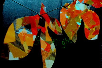 LGBT Proud2b Parents - As part of an autumnal themed workshop we made leaves from fabric scraps , we made bunting to hang at the children's centre.