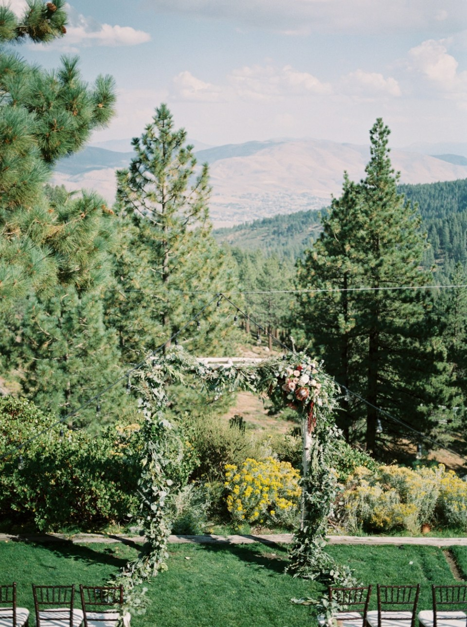 ceremony balcony lake tahoe wedding venue, mountain wedding inspiration tannenbaum