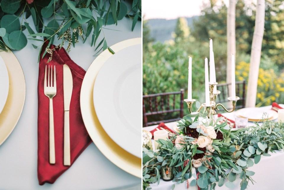 tannenbaum wedding, fall inspired place setting lake tahoe wedding venue, mountain wedding inspiration tannenbaum lake tahoe florist