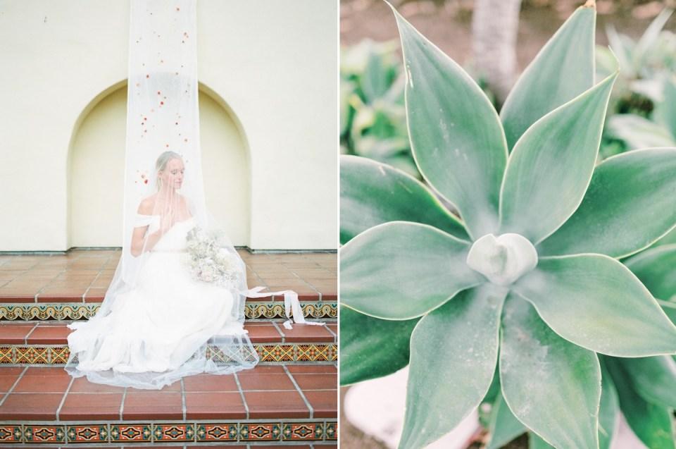 Bride Sitting On Steps At Estancia La Jolla Wedding Venue In San Diego