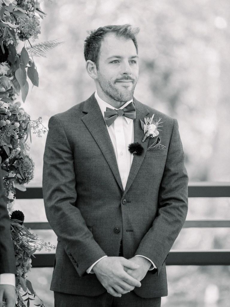 Groom Waiting For Bride At Lake Tahoe Wedding