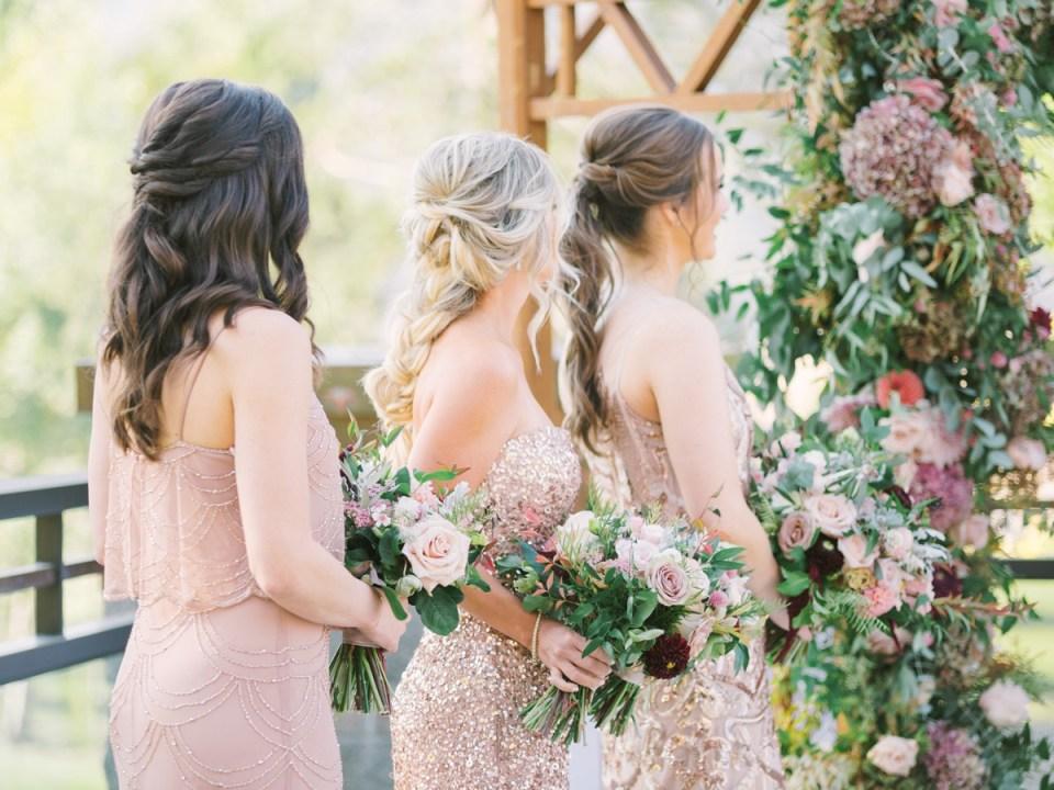 Bridesmaids In Rose Gold Dresses | Lake Tahoe Wedding Photographer
