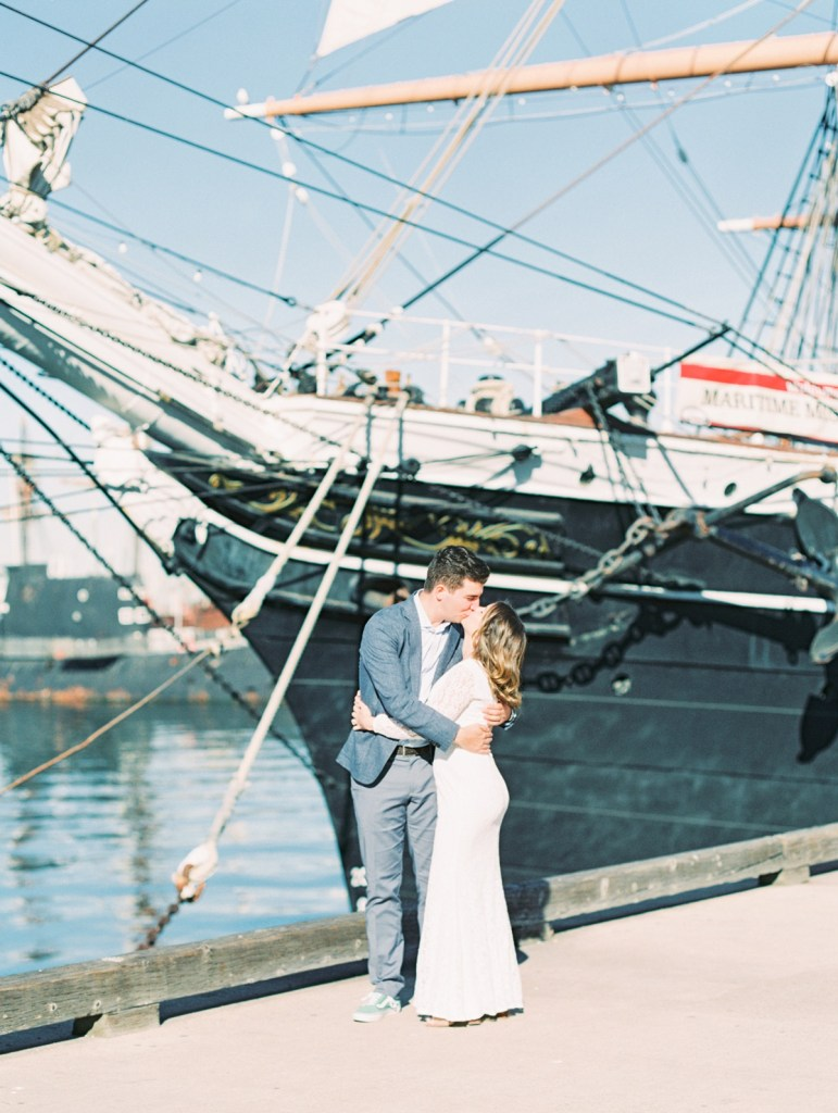 Couple At Waterfront Park Downtown San Diego Elopement at the Courthouse