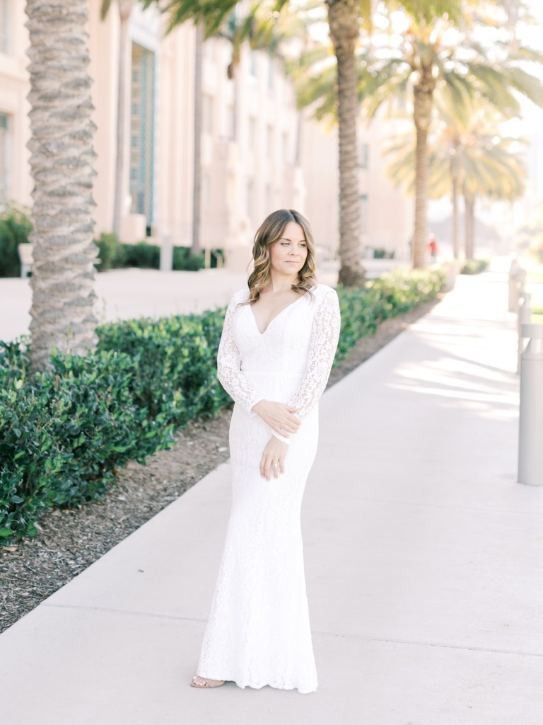 Lace Lulu's Wedding Dress | Downtown San Diego Courthouse Wedding Shot On Film By Mandy Ford Photography
