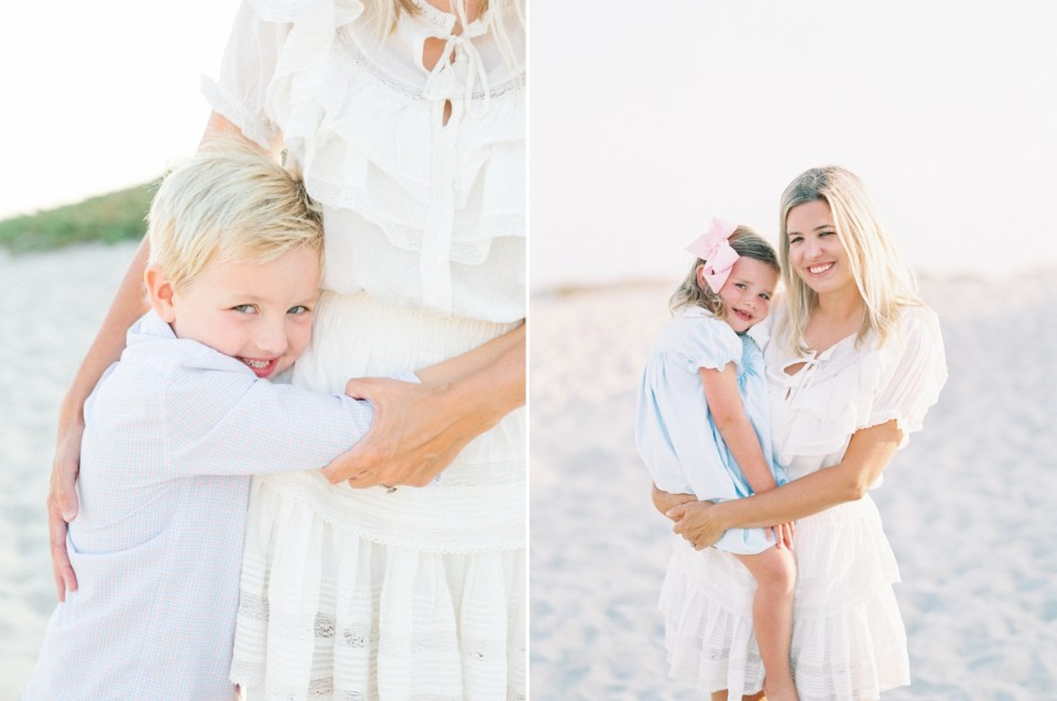 Light Blue and White Family Beach Portraits | shot on film by Mandy Ford Photography in Coronado, CA