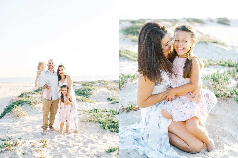 Mother and daughter laughing during light and airy Coronado family session shot on film by Mandy Ford