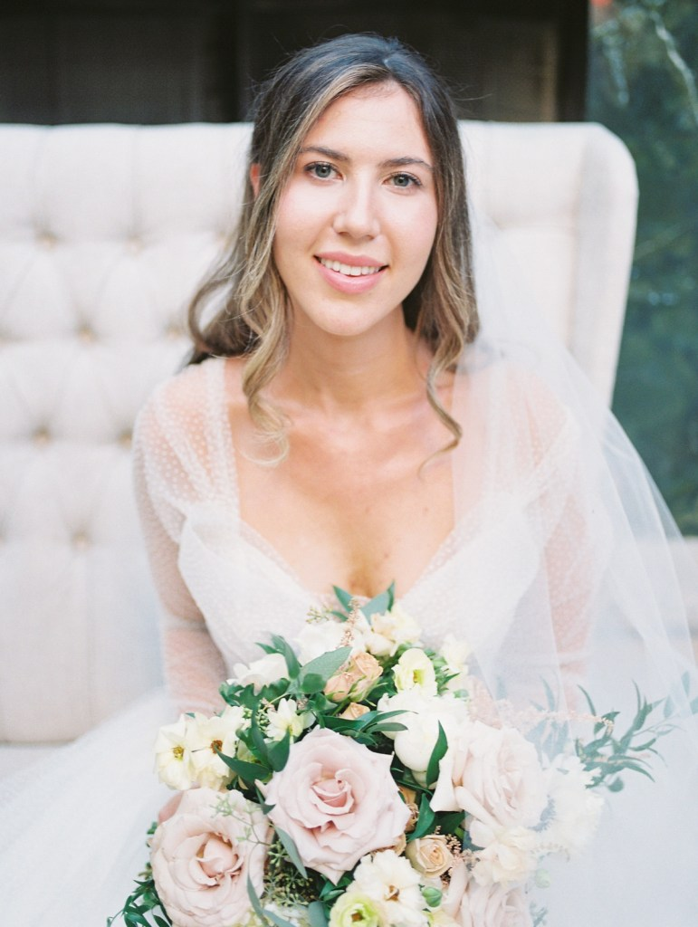 Bride Wearing Polka Dot Tulle Wedding Gown | Orange County Jewish Wedding | Mandy Ford Photography