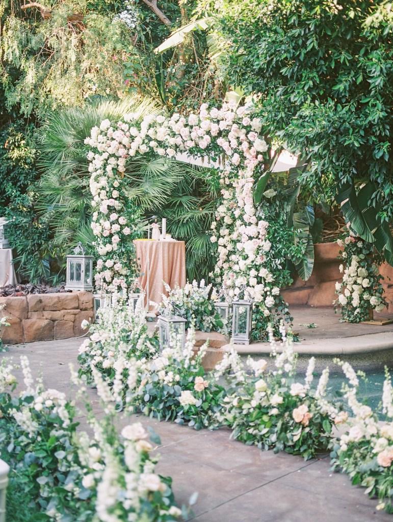 Light Pink Rose Wedding Arch | Orange County Jewish Wedding | Mandy Ford Photography