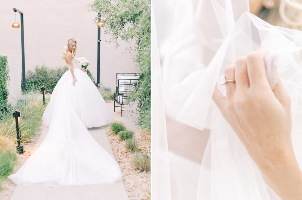 Bridal details at The Guild Hotel wedding venue in Downtown San Diego | Shot on film by Mandy Ford Photography