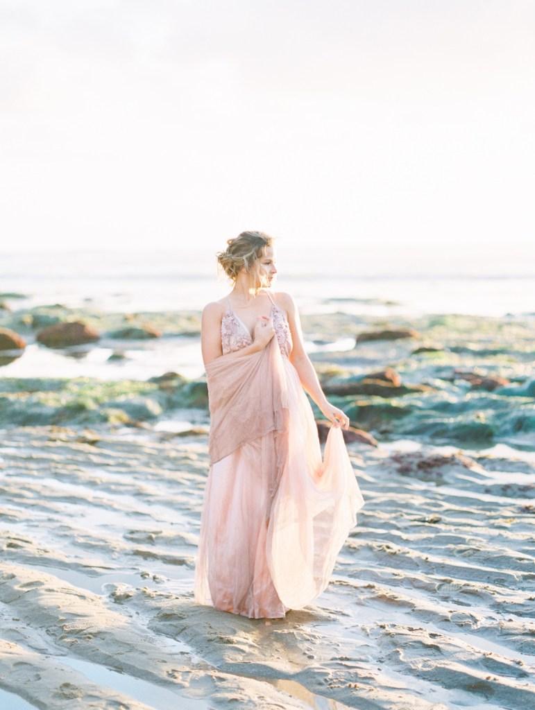 Blush Wedding Gown   San Diego Sunset Cliffs Elopement Micro Wedding   Colorful Bridal Gown