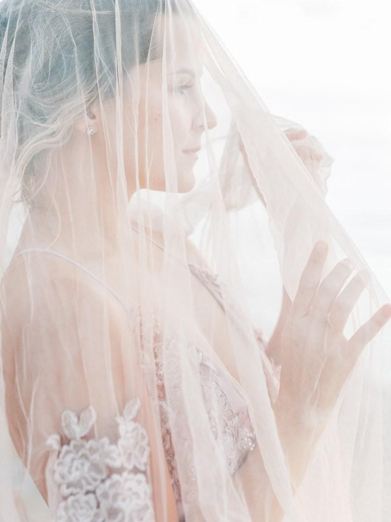 Blush Lace Veil   Colored Wedding Dress   Unique Wedding Gown Sunset Cliffs San Diego Wedding