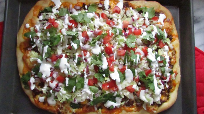 Taco Pizza with all the toppings!