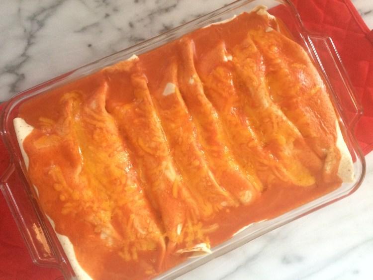Baked enchiladas in pan