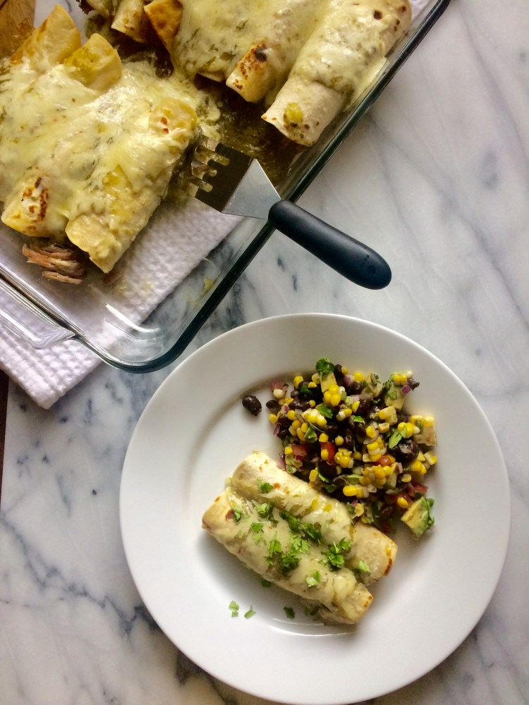 enchiladas verdes with corn salad