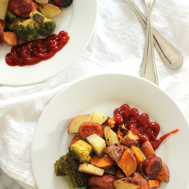 Roasted kielbasa, broccoli, sweet potato with ketchup