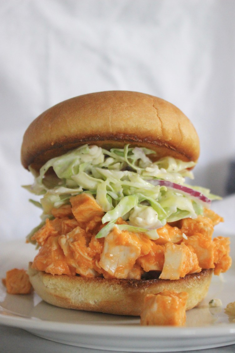 Buffalo Chicken Sandwiches with Blue Cheese Slaw