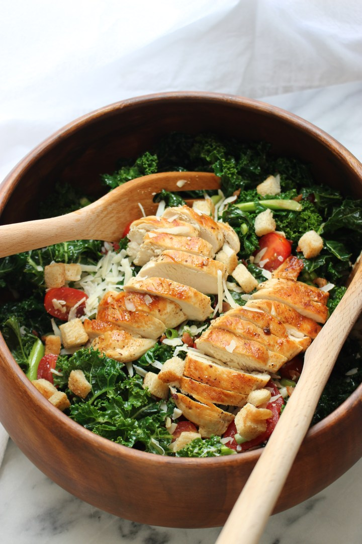 Kale Salad with Bacon Fat Croutons